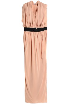VIONNET Grosgrain-trimmed gathered jersey gown