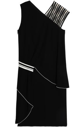 VIONNET Paneled tulle and crepe dress