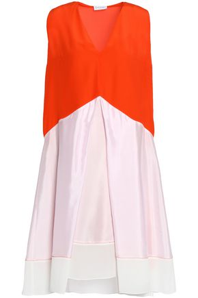 VIONNET Layered color-block silk top