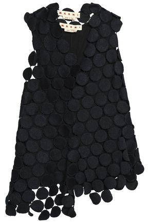 MARNI Asymmetric cotton-blend guipure lace top