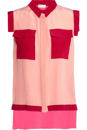VIONNET Color-block stretch-silk crepe de chine blouse