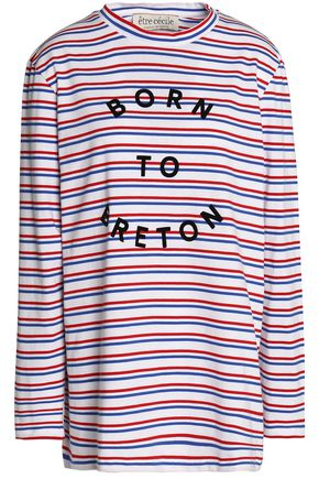ÊTRE CÉCILE Flocked striped cotton-jersey top