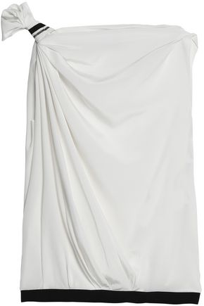 VIONNET Grosgrain-trimmed draped silk crepe de chine top