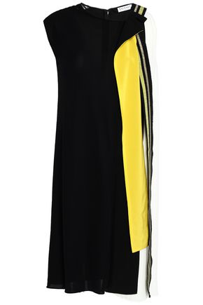 VIONNET Asymmetric pleated color-block crepe dress