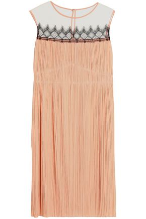 VIONNET Tulle-paneled lace-trimmed plissé jersey dress