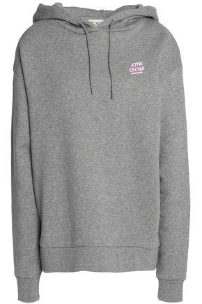 ÊTRE CÉCILE Mélange printed cotton-terry hooded sweatshirt