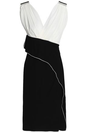 VIONNET Layered ruched two-tone crepe dress