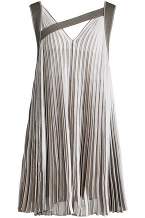 VIONNET Metallic plissé knitted mini dress