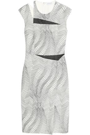VIONNET Mesh-paneled cutout printed crepe dress
