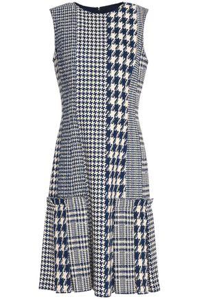 OSCAR DE LA RENTA Pleated houndstooth tweed dress