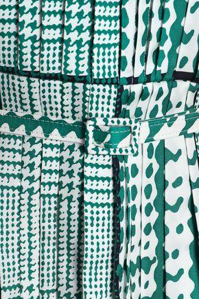 OSCAR DE LA RENTA Pleated printed silk-twill mini dress