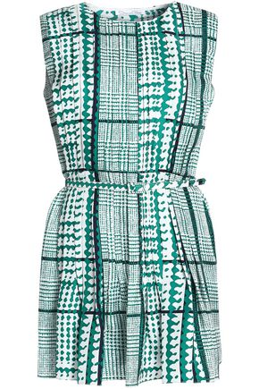 OSCAR DE LA RENTA Pleated printed silk-twill mini dress