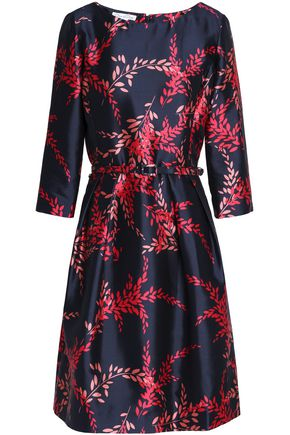 OSCAR DE LA RENTA Belted printed silk and cotton-blend twill dress