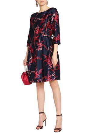 bbbb742f81 OSCAR DE LA RENTA Belted printed silk and cotton-blend twill dress