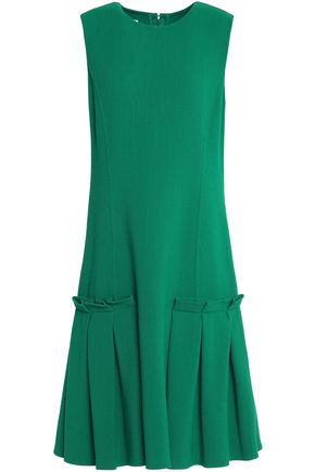 OSCAR DE LA RENTA Pleated stretch-wool dress