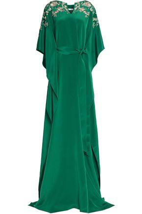 OSCAR DE LA RENTA Embellished belted draped silk-satin gown