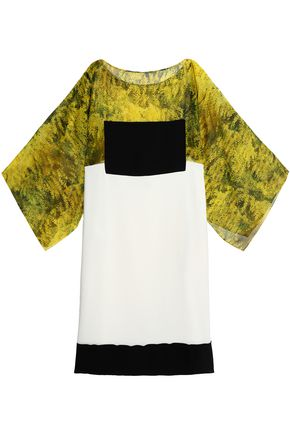VIONNET Draped printed silk chiffon blouse