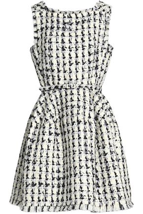OSCAR DE LA RENTA Belted wool and cotton-blend bouclé-tweed mini dress