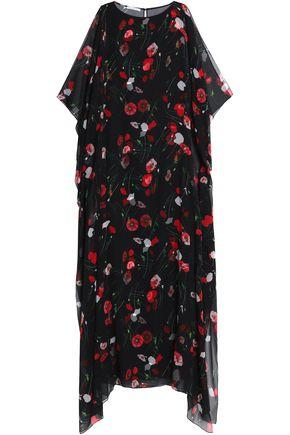 OSCAR DE LA RENTA Floral-print draped silk-blend chiffon maxi dress