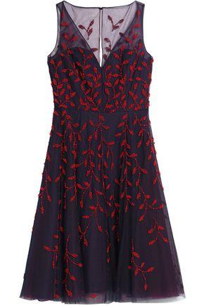 OSCAR DE LA RENTA Bead-embellished tulle midi dress