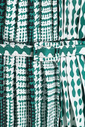 OSCAR DE LA RENTA Layered pleated printed silk midi dress