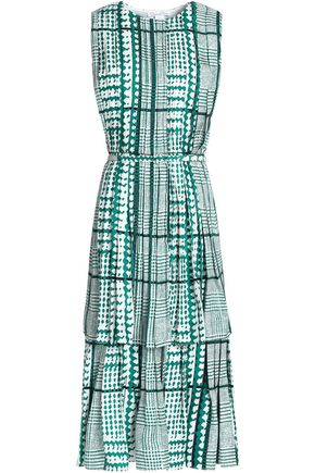 OSCAR DE LA RENTA Layered pleated printed silk midi dress
