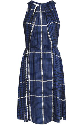 OSCAR DE LA RENTA Pleated checked silk-twill dress