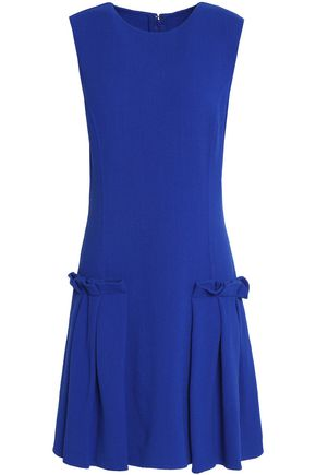 OSCAR DE LA RENTA Pleated stretch-wool crepe mini dress