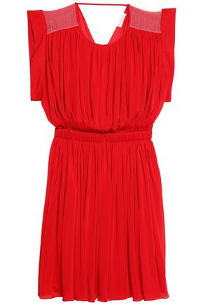VIONNET Tulle-paneled draped jersey dress