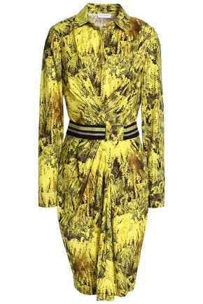 VIONNET Belted draped printed cotton-blend shirt dress