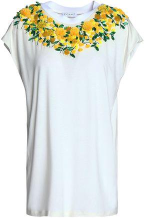 VIONNET Embellished floral-appliquédjersey T-shirt