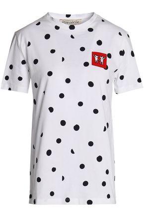ÊTRE CÉCILE Polka-dot appliquéd cotton-jersey T-shirt