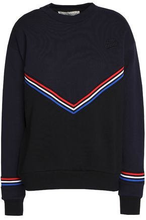 ÊTRE CÉCILE Intarsia-trimmed embroidered cotton-fleece sweatshirt
