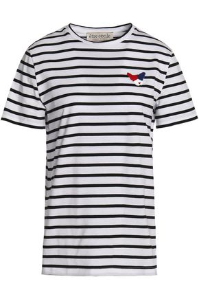 ÊTRE CÉCILE Appliquéd striped cotton-jersey T-shirt