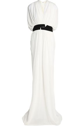 VIONNET Grosgrain-trimmed ruched faille gown