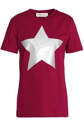ÊTRE CÉCILE Glittered printed cotton-jersey T-shirt