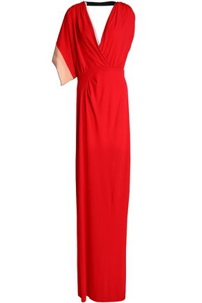 VIONNET Asymmetric color-block crepe gown