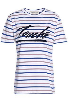 ÊTRE CÉCILE Flocked striped cotton-jersey T-shirt