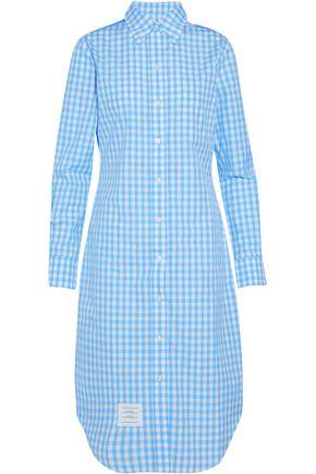 THOM BROWNE Floral print-paneled gingham cotton-poplin shirt dress