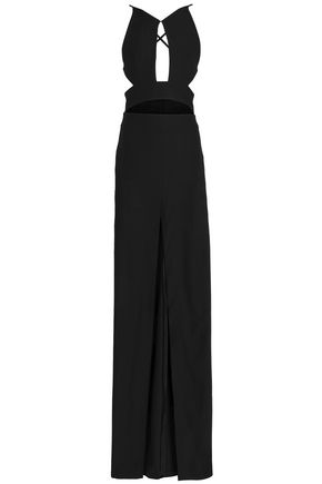 SOLACE LONDON Cutout stretch-gabardine gown