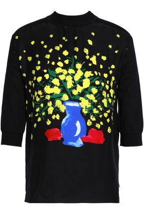 VIONNET Printed silk and cotton-blend top