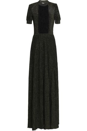 VIONNET Metallic chiffon ruffle-paneled stretch-knit silk gown