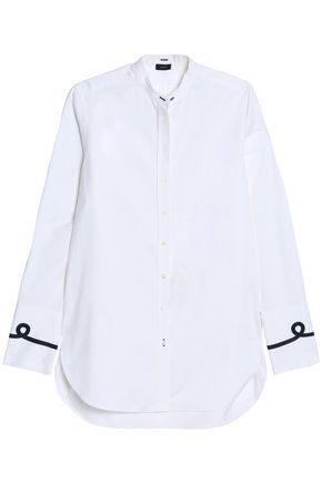 JOSEPH Grosgrain-trimmed cotton-poplin shirt