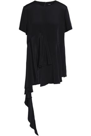 GOEN.J Asymmetric ruffled silk-crepe de chine top