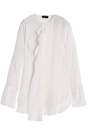 JOSEPH Ruffle-trimmed cotton and silk-blend blouse