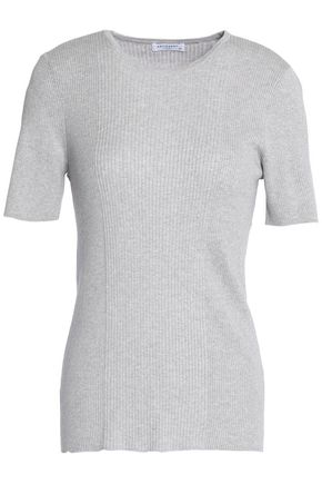 EQUIPMENT Ribbed-knit cotton, silk and cashmere-blend top