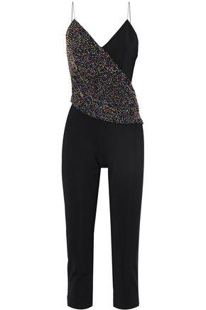 CUSHNIE ET OCHS Bead-embellished draped crepe jumpsuit