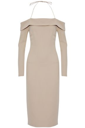 CUSHNIE ET OCHS Off-the-shoulder cady halterneck dress