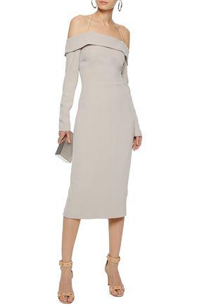 CUSHNIE ET OCHS Off-the-shoulder cady halterneck dress