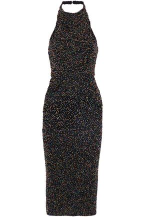 CUSHNIE Beaded cotton-mesh halterneck midi dress